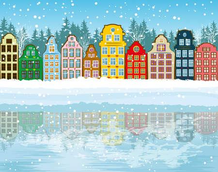 urban scene: Christmas background