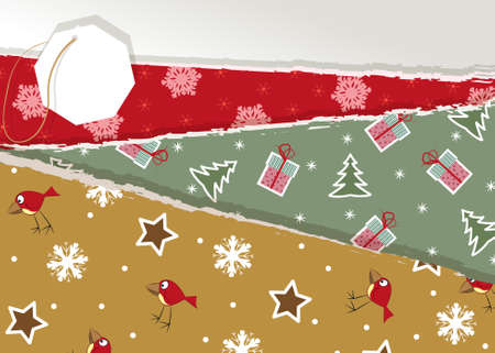 Vintage Christmas torn paper Vector