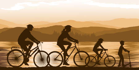 family vacations: Cycling Illustration