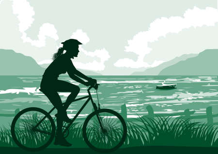 Cycling on seaside Vector