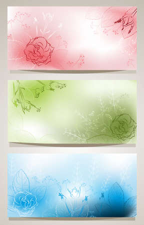 Set of horizontal backgrounds with flowers Vector