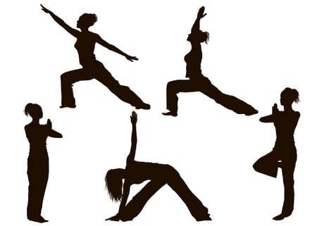 yoga silhouette: Yoga Poses Silhouettes Illustration