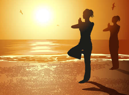 Women in Yoga Pose Stock Vector - 18455886