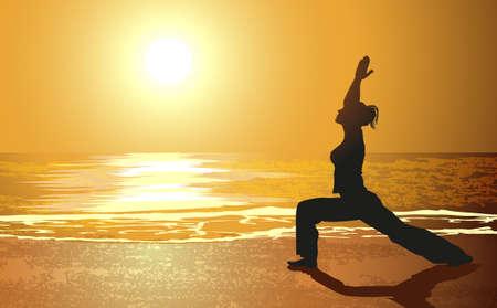 Yoga on a beach Illustration