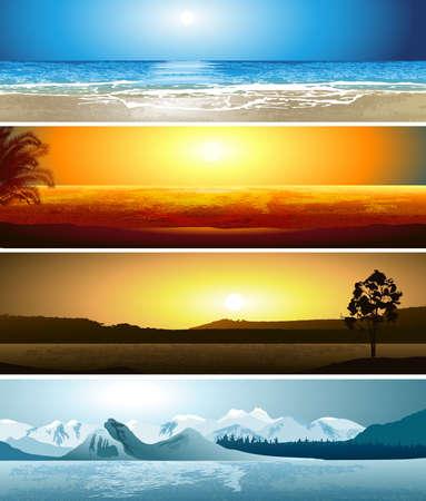 географический: Серия иллюстраций 4 географических точках