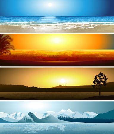 A series of illustrations of 4 geographical locations Vector