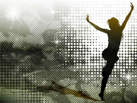 Background with jumping girl Vector