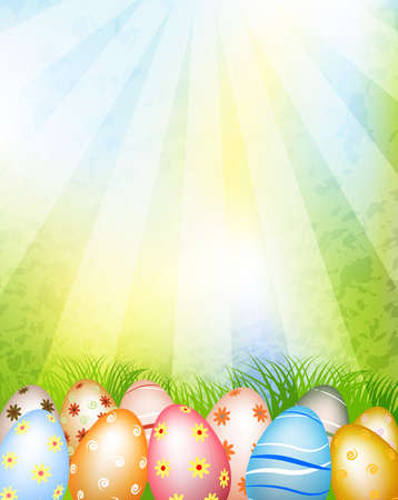 egg hunt: decorated easter eggs in grass