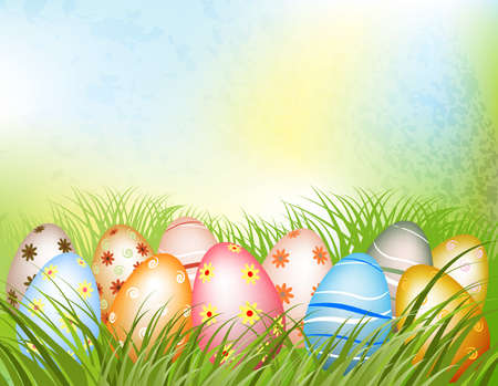 decorated easter eggs in grass Stock Vector - 18462227