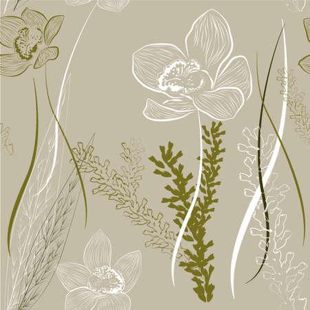 Floral ornament  Seamless interior wallpaper Vector
