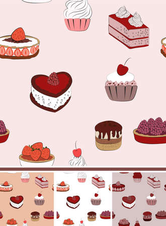Vector cake seamless  background pattern Vector