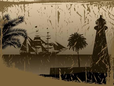 brig ship: pirate ship in ocean