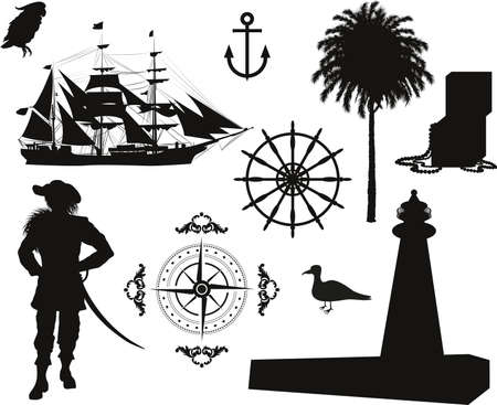 pirate skull: Set of Nautical Pirate pictures Illustration