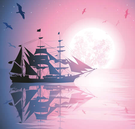 Old Ship Sailing Open Seas Illustration