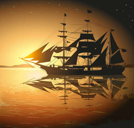 retro sunrise: Old Ship Sailing Open Seas Illustration