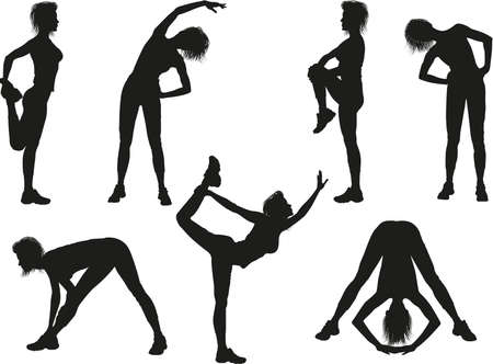 asana: Silhouettes of a woman doing sport exercises