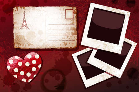 Blanks instant photo, postal card and heart, dark grunge  Vector