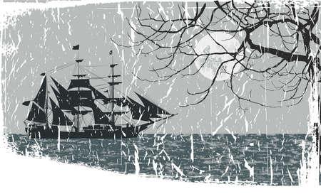 piracki statek w morze