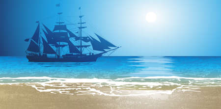 rigging: Old Ship Sailing Open Seas Illustration