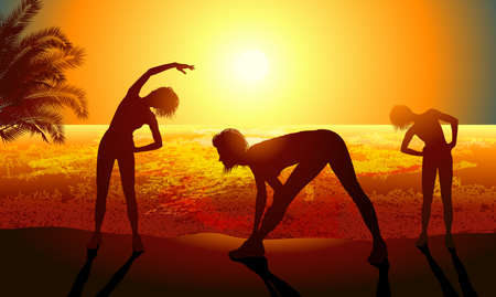 Silhouettes of a woman doing sport exercises on the beach Vector