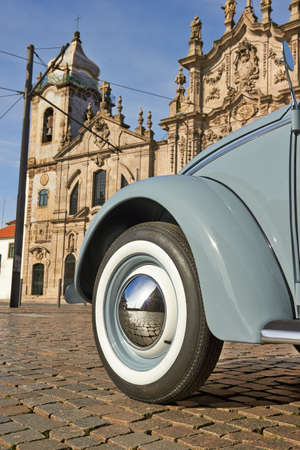 old vintage car in a old city center of Porto, Portugal Stock Photo - 18567316