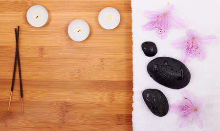 Background with orchid and spa stones photo