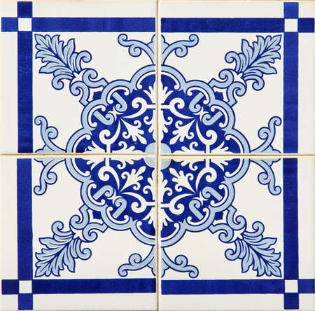 spanish tile: Detail of some typical portuguese tiles  azulejos  at Porto