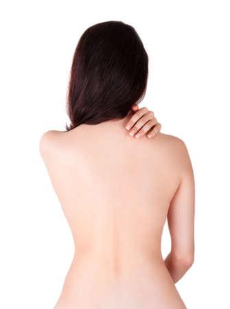 mujer desnuda de espalda: Back masaje ache, vista Woman a partir de detrás de