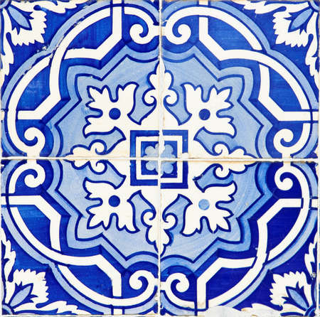 Old Traditional Portuguese azulejos, painted ceramic tilework  Stock Photo