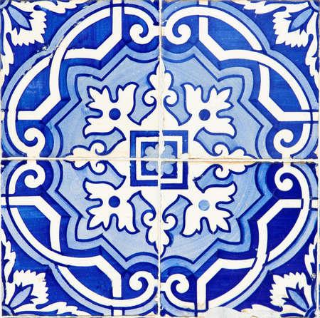 Oude Traditionele Portugese azulejos, beschilderde keramische tegelwerk Stockfoto