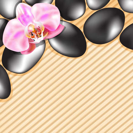 spa stones: Spa stones and orchid on the background