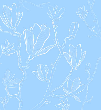 floral background with outlined flowers Stock Vector - 18853448