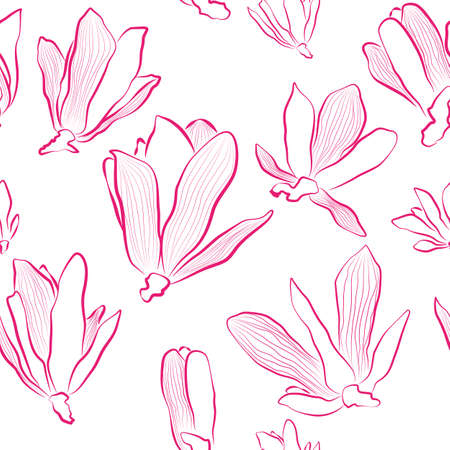 seamless floral pattern with magnolia flowers Vector