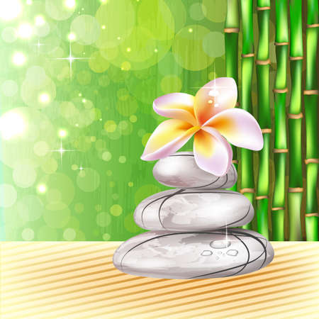 Background with spa, bamboo stones and frangipani flower Vector