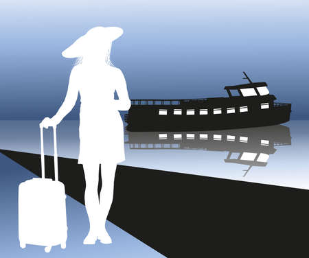 Woman with a suitcase on landing stage Stock Vector - 19108822