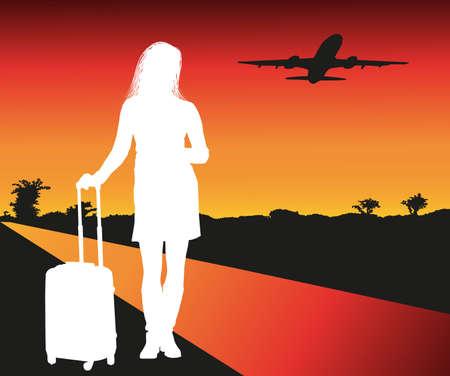 illustratie van passagiers op de luchthaven