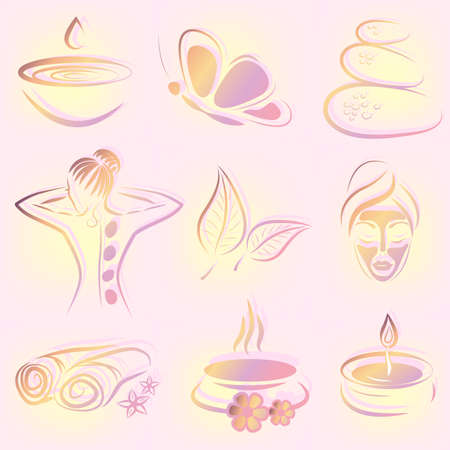 set of spa items  Vector