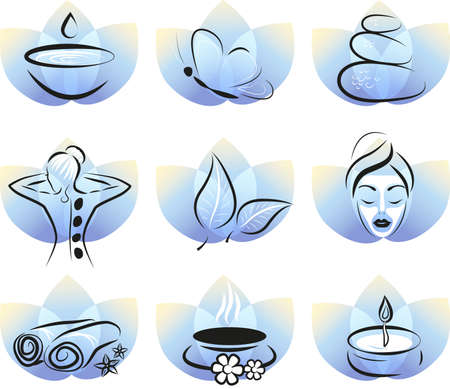 massage symbol: collection of spa items