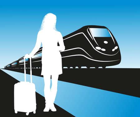 illustratie van de passagier te wachten op het station
