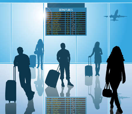 flight board: airline passengers with luggage in airport