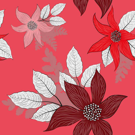シームレスな花柄、ベクトル イラスト