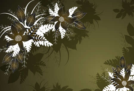Decorative green floral background with flowers Vector