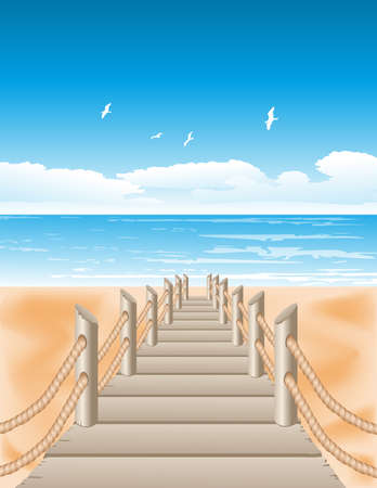 footbridge: Vector illustration of Sea view