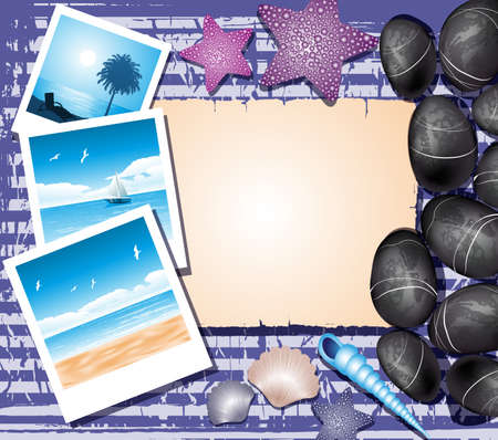 Background with shells, photos and place for text Stock Vector - 19373260