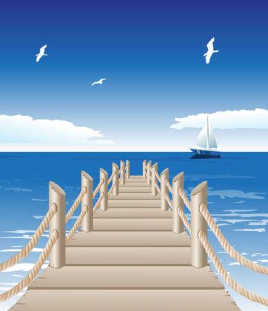 Ilustración vectorial de muelle de madera