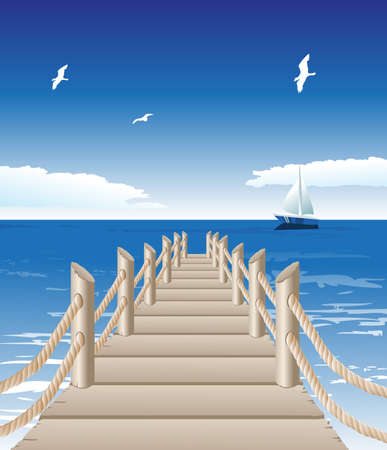 footbridge: Vector illustration of wooden jetty