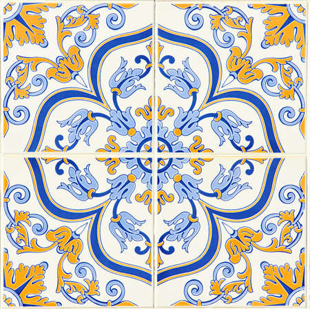 spanish house: Detail of some typical portuguese tiles  azulejos  at Porto, Portugal Stock Photo