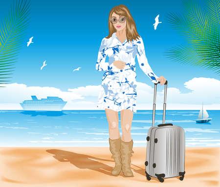 mujer con maleta: ilustración vectorial de Turismo en la playa