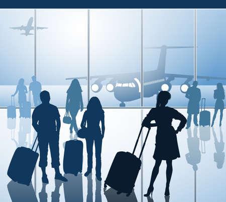 bagage: Les passagers avec des bagages � l'a�roport