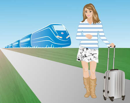 bustle: vector illustration of passenger against a train